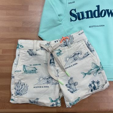 short lino estampado conjunto scotch and soda la petite boutique santiago